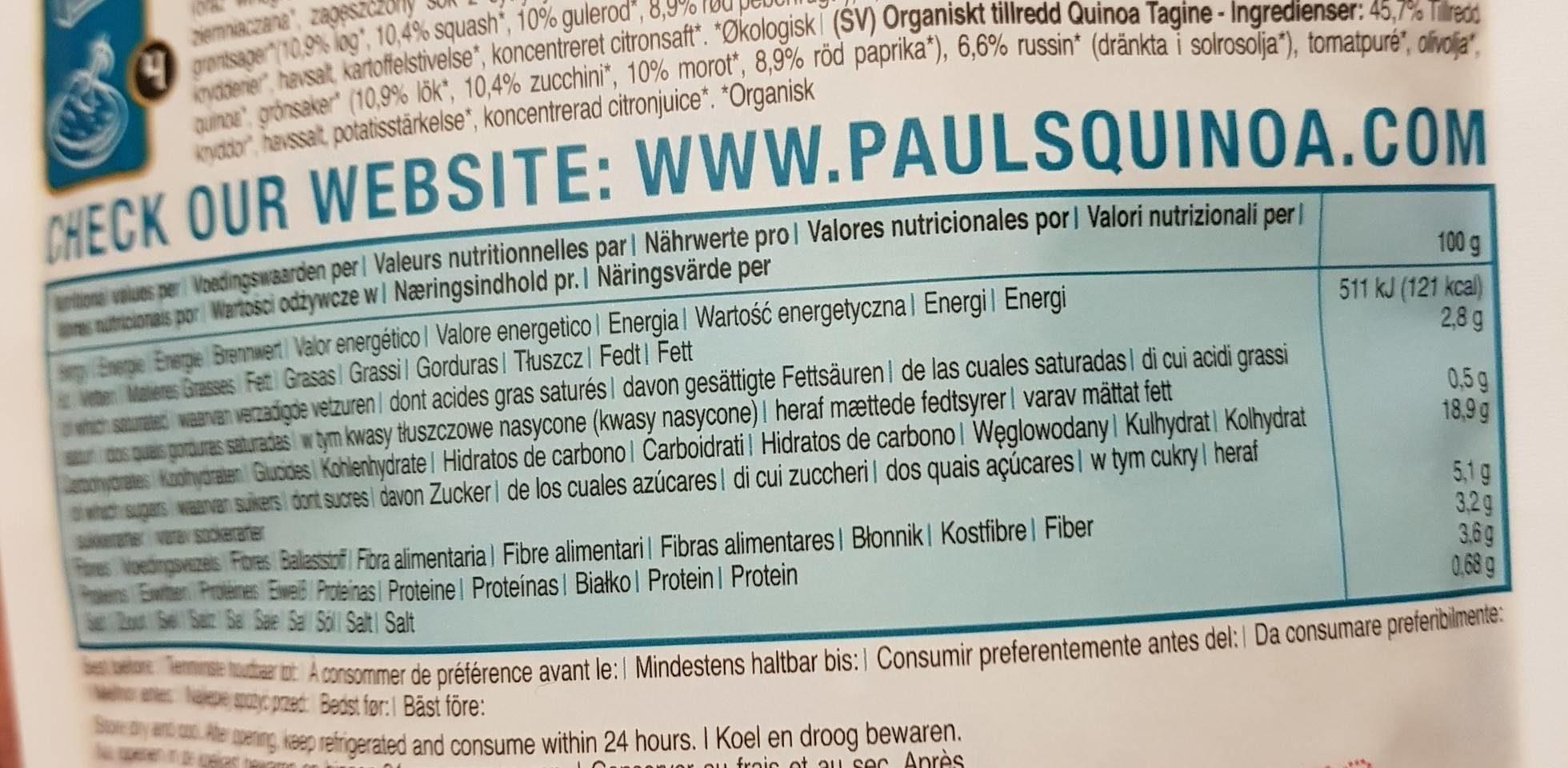 Paul's Finest Organic Quinoa, Tajine - Nutrition facts