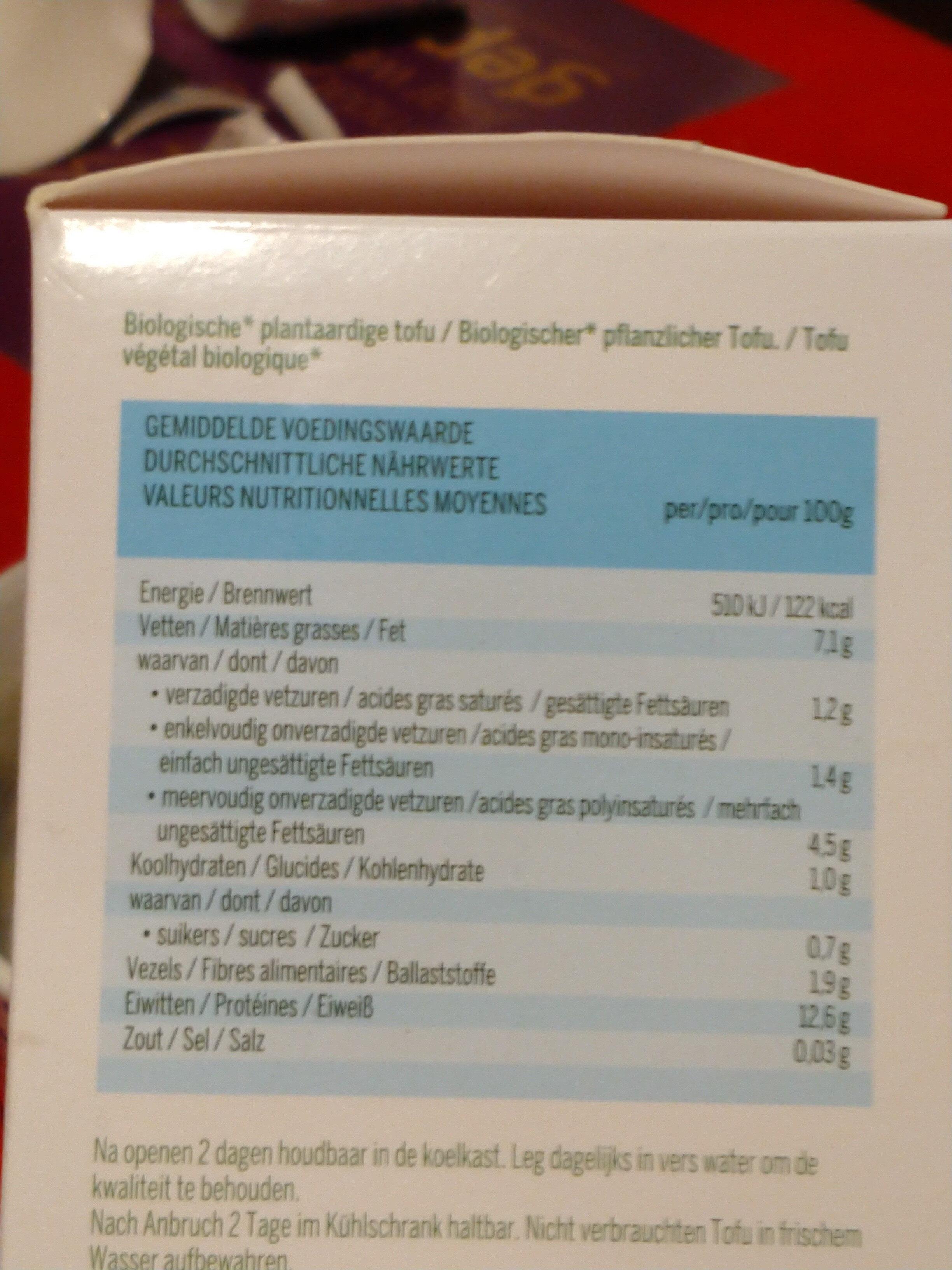 Tofu Naturel - Voedingswaarden - nl