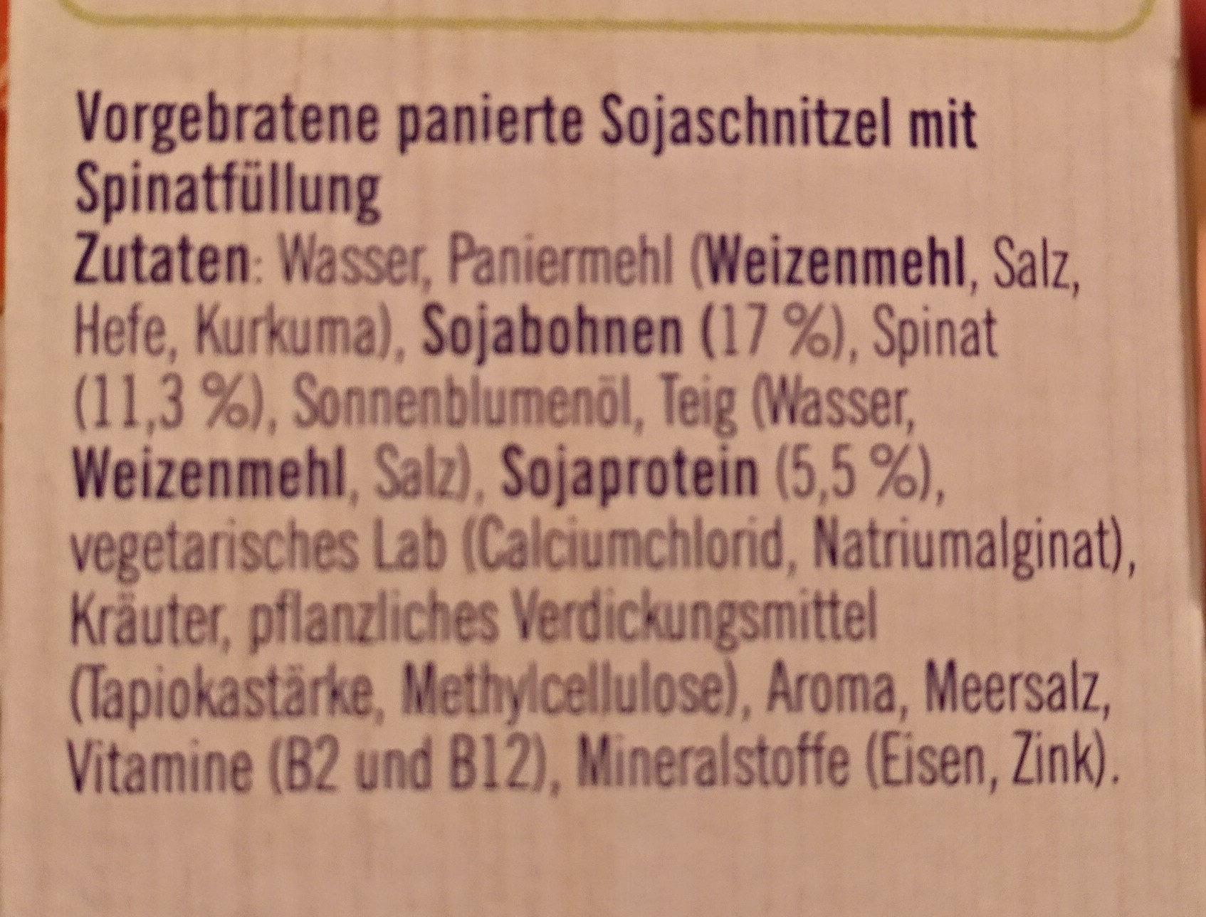 Spinat Schnitzel - Inhaltsstoffe - de