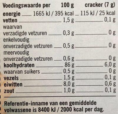 Vrij van gluten crackers - Voedingswaarden