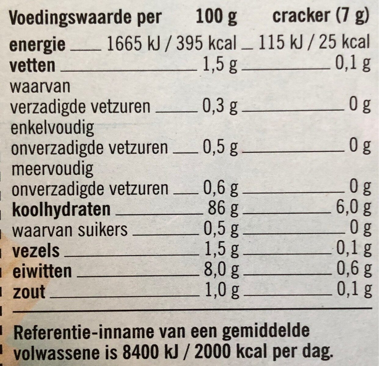 Vrij van gluten crackers - Nutrition facts