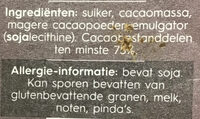 Pure Chocolade 75% - Ingredients - nl