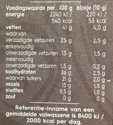 Pure Chocolade 75% - Nutrition facts - nl