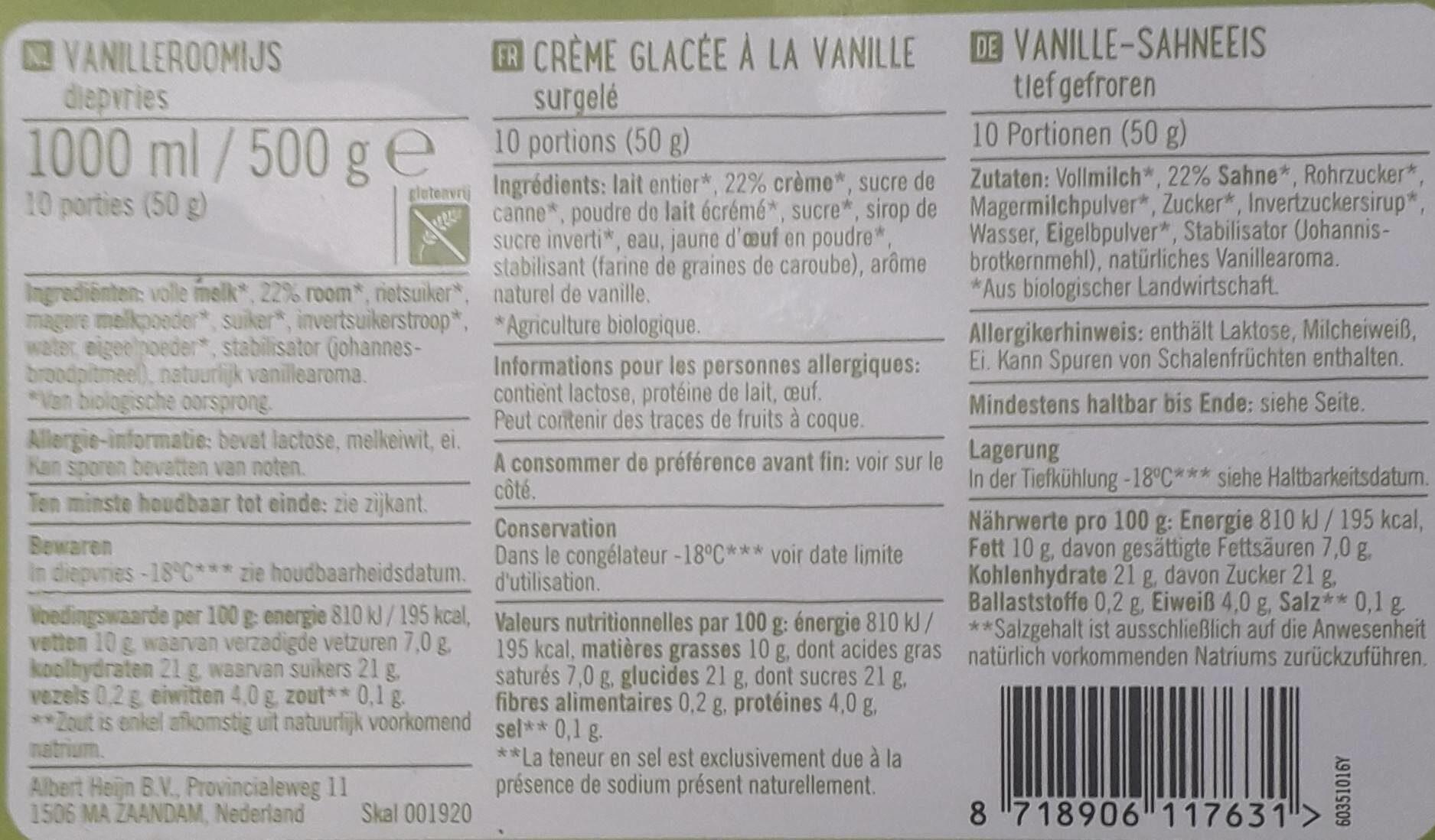 organic vanilla ice cream - Voedingswaarden - nl