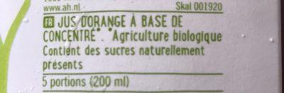 Biologisch Sinaasappelsap Pak - Ingredients - fr