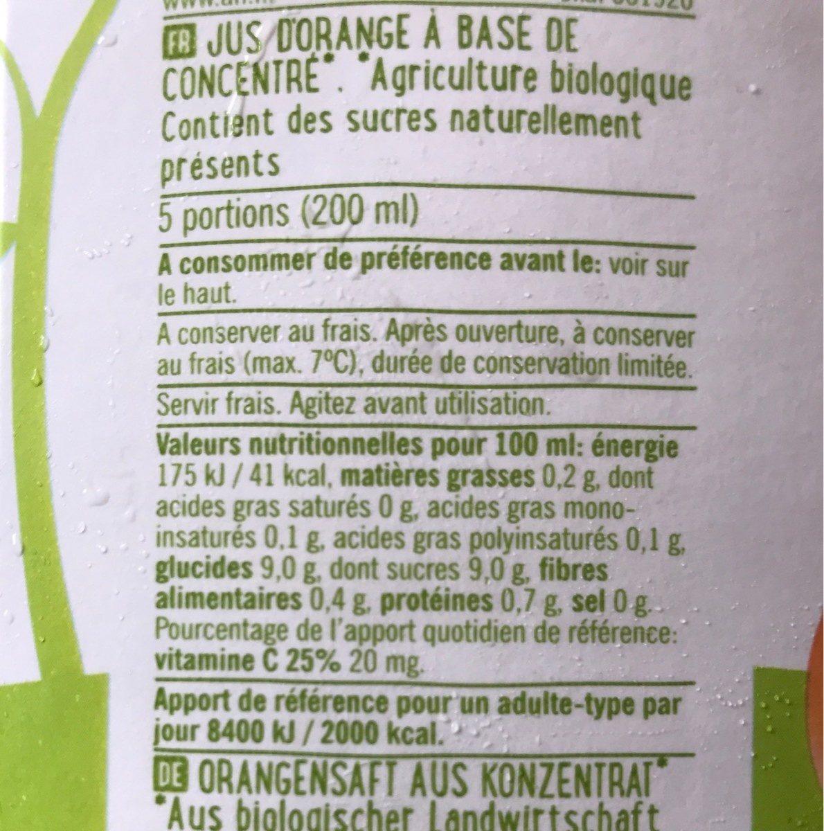 Biologisch Sinaasappelsap Pak - Nutrition facts - fr