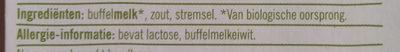 Biologische Buffelmozzarella 52+ - Ingredients - nl
