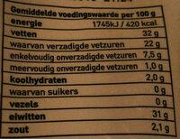 Geraspt pittig 45+ - Nutrition facts - nl