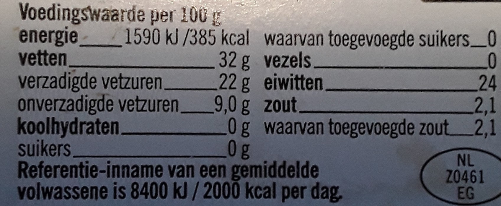 Plakken belegen 48+ - Nutrition facts - nl