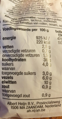 Zacht Volkorenbollen - Nutrition facts