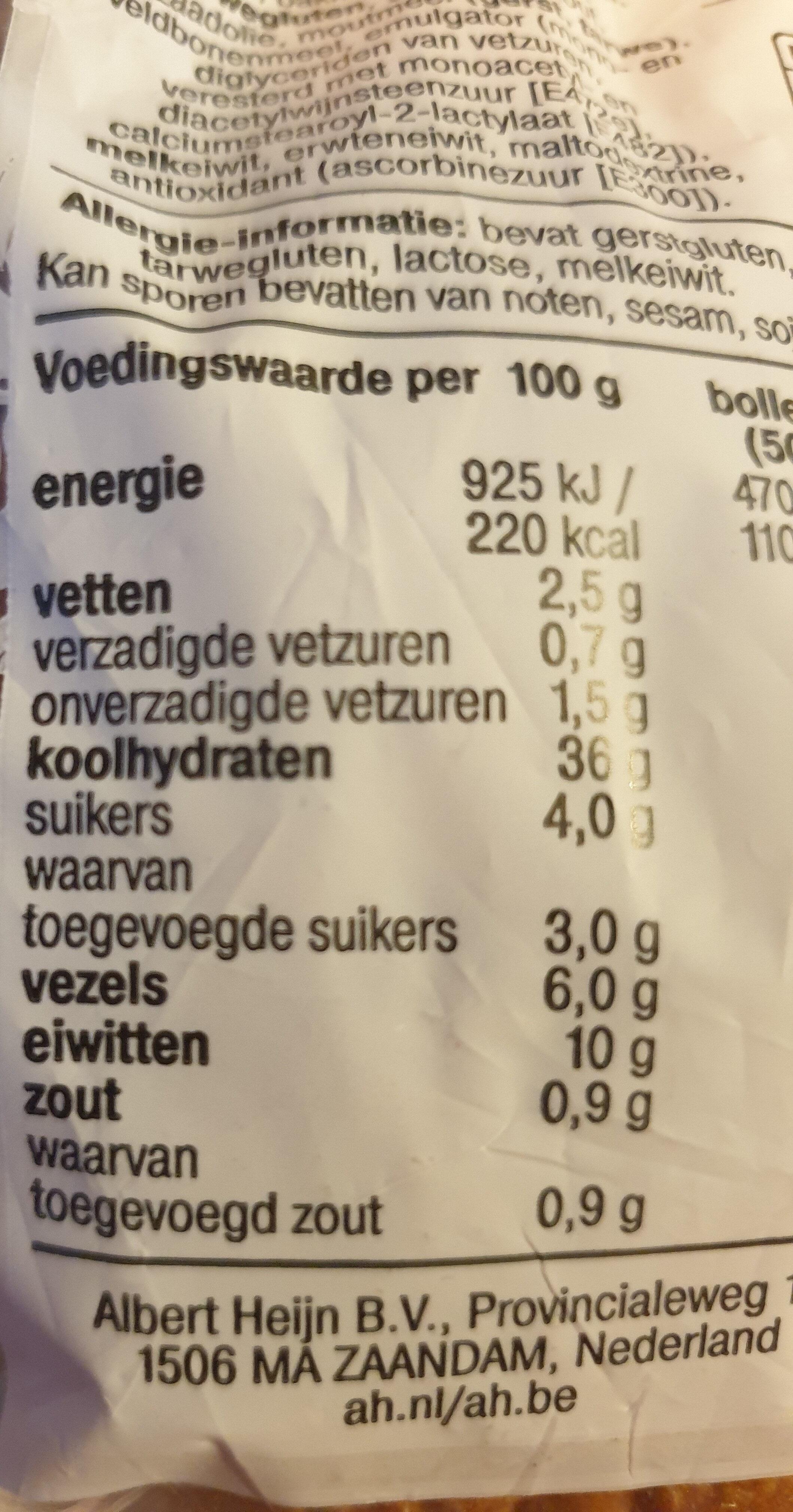 Zacht Volkorenbollen - Informations nutritionnelles - nl