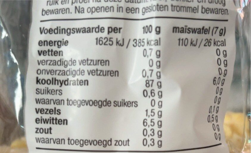 Maiswaffels - Nutrition facts - fr