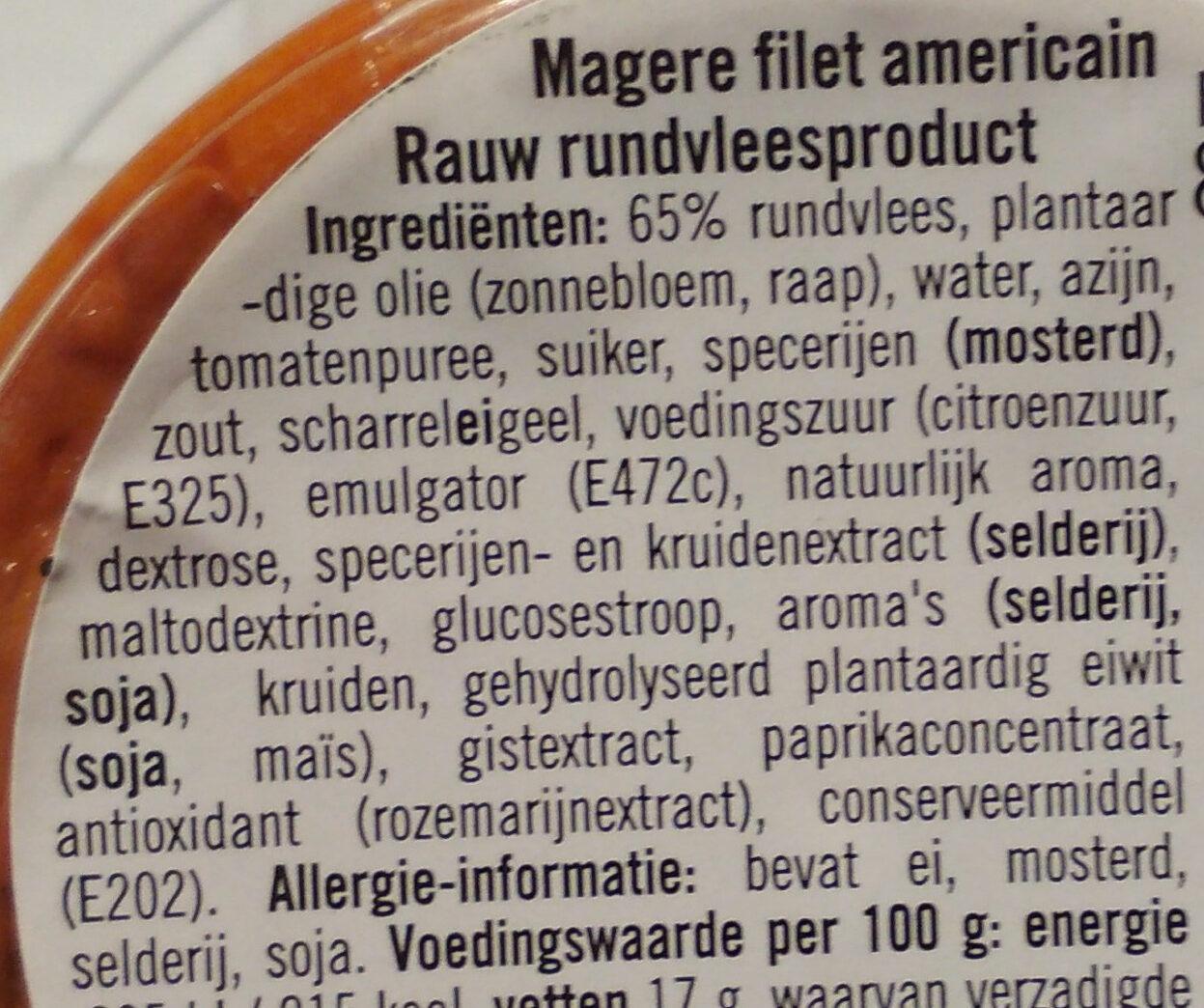 Filet Americain Mager - Ingrediënten - nl