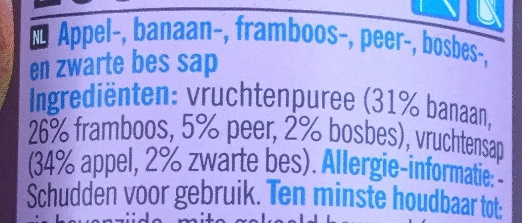 Smoothie Appel Banaan Peer Framboos Blauwe bes en Zwarte bes - Ingrédients - nl