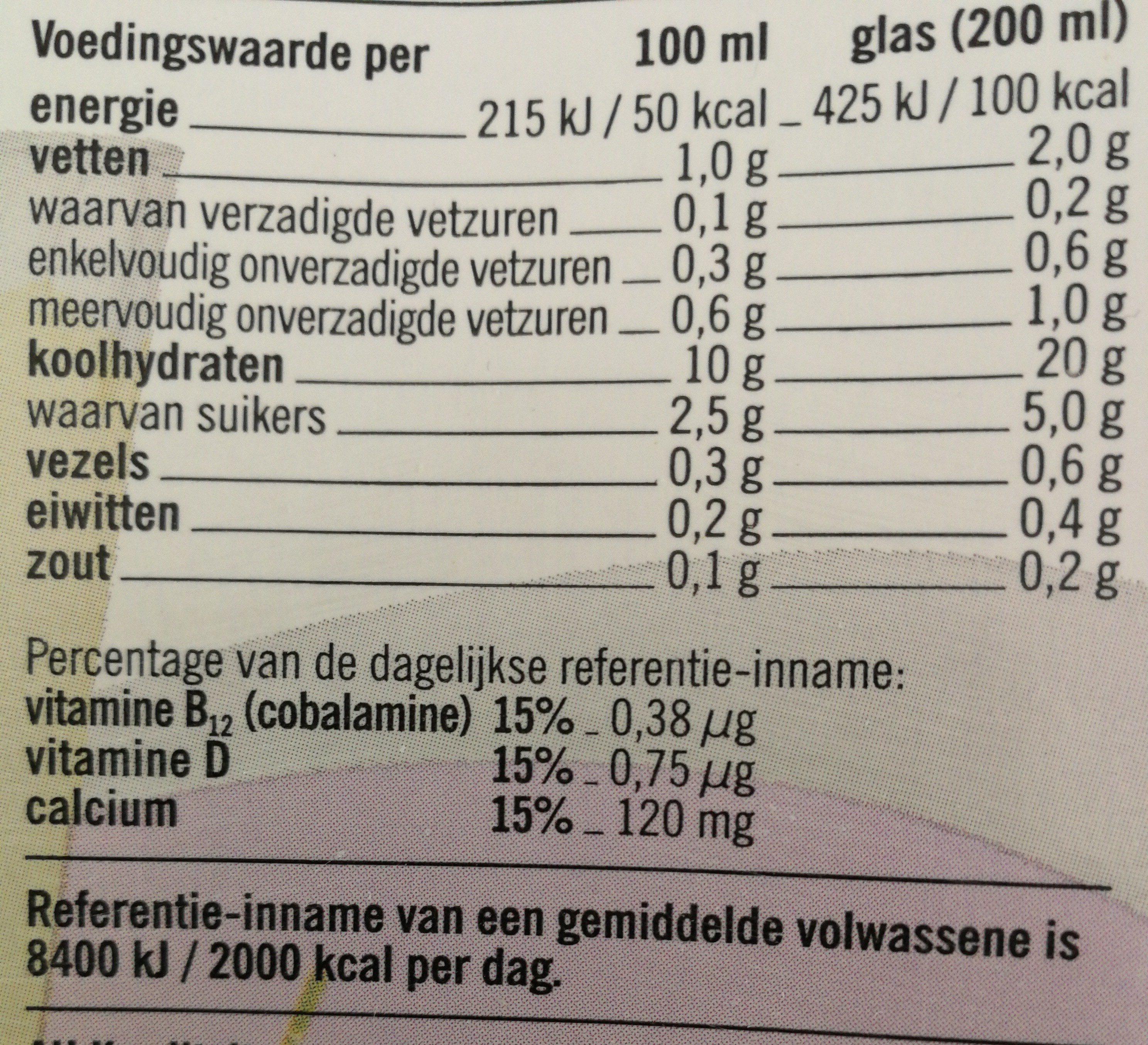 Zachte rijstdrink naturel - Voedingswaarden