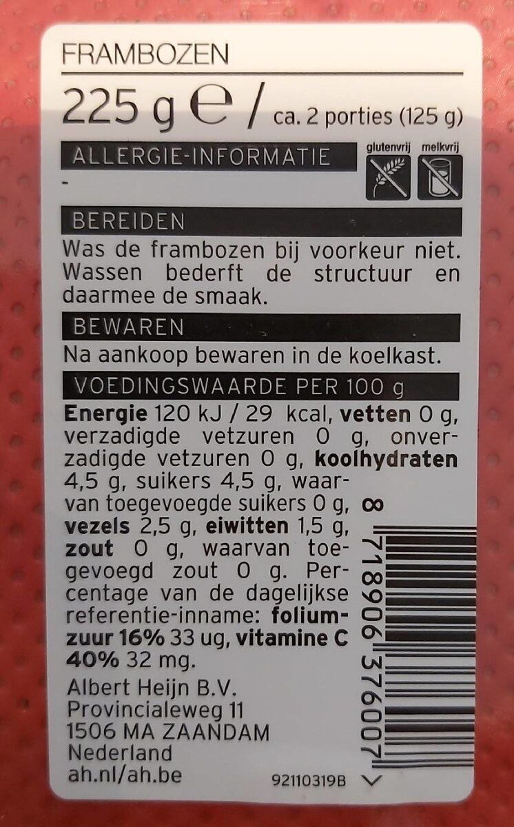 Framboise - Nutrition facts - en