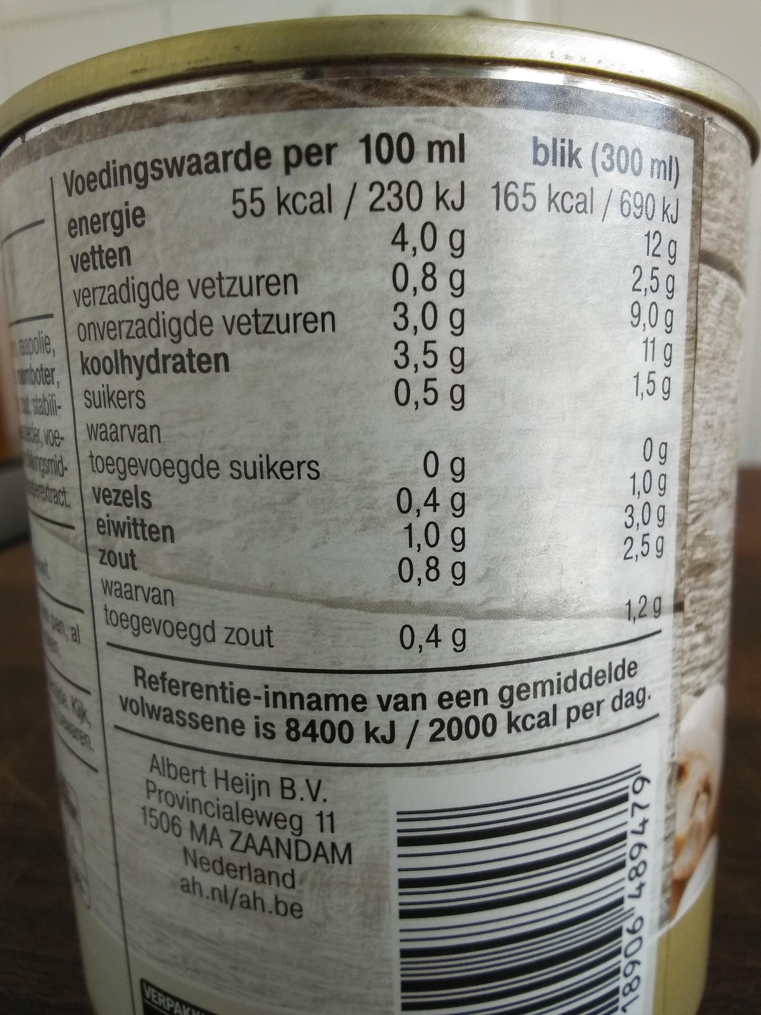 Gevulde champignonsoep - Nutrition facts - en