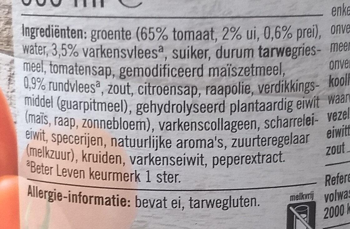 Gevulde Tomatensoep met soepballetjes - Ingredients - nl
