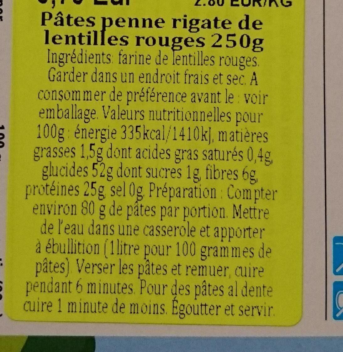 Pâtes penne rigate de lentilles rouges - Ingrédients - fr