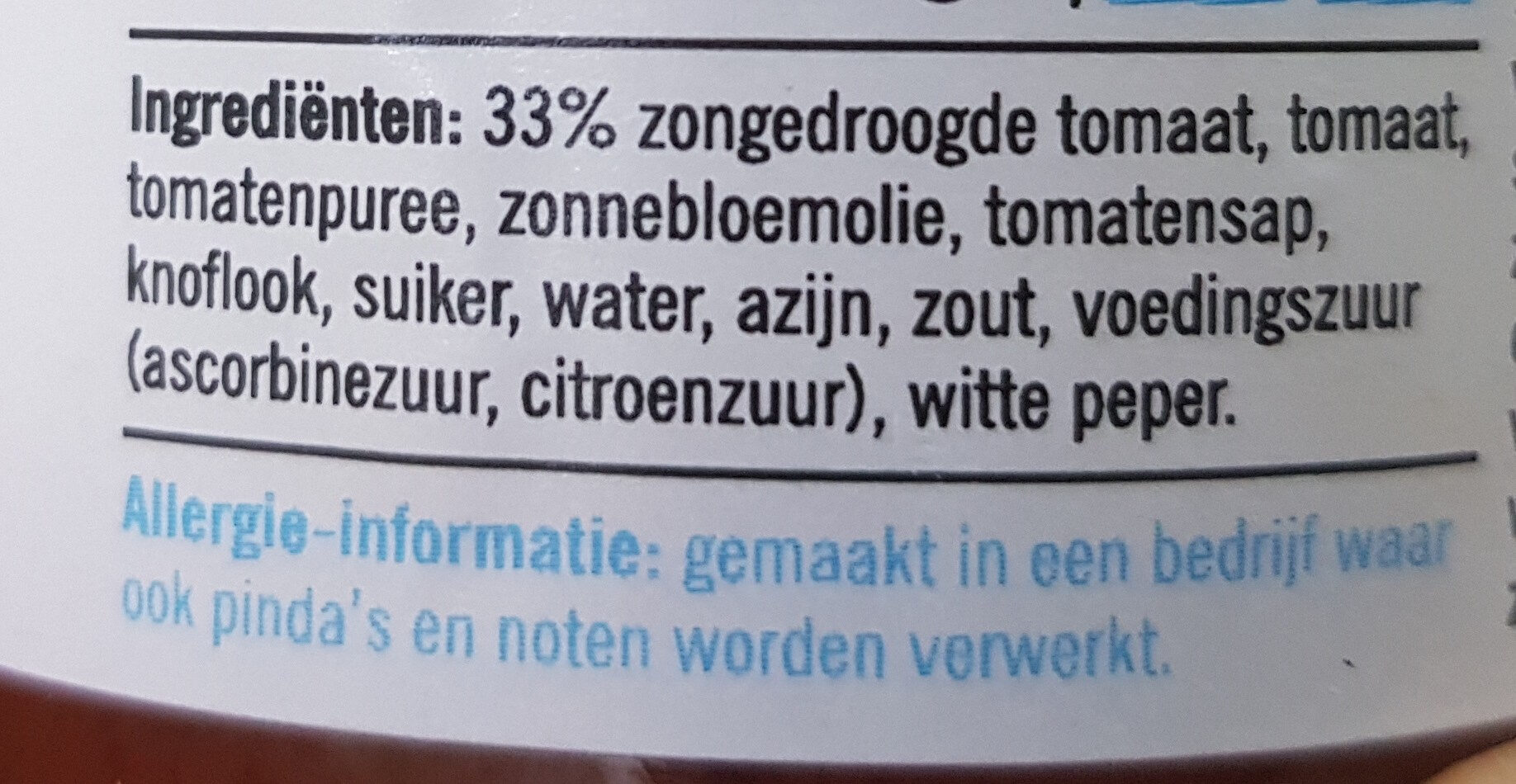 Tapenade tomaat zongedroogd - Ingredients - nl