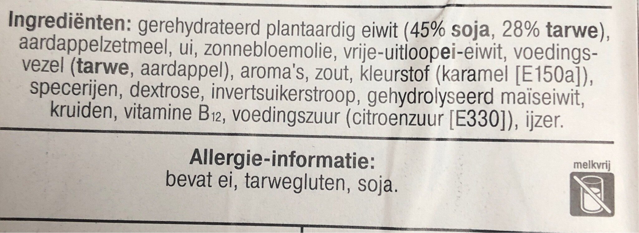 Vegetarische basis balletjes - Ingrédients - nl