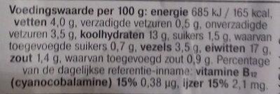 Vegetarische basis balletjes - Nutrition facts - nl