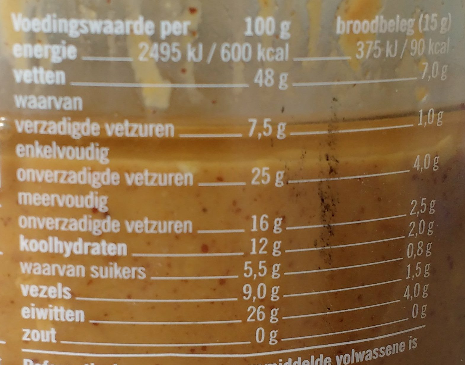 Pindakaas 100% - Nutrition facts - en