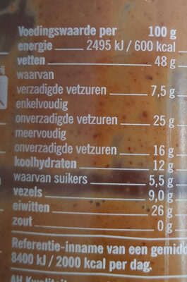 100% Pindakaas - Información nutricional