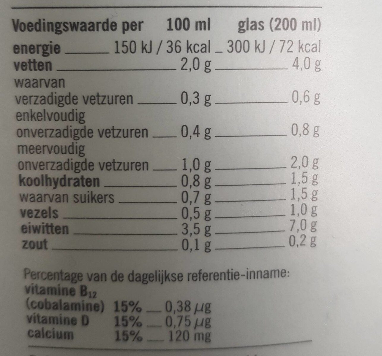 Soja drink - Nutrition facts - nl