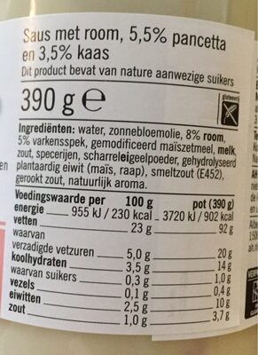Pasta Saus - Nutrition facts