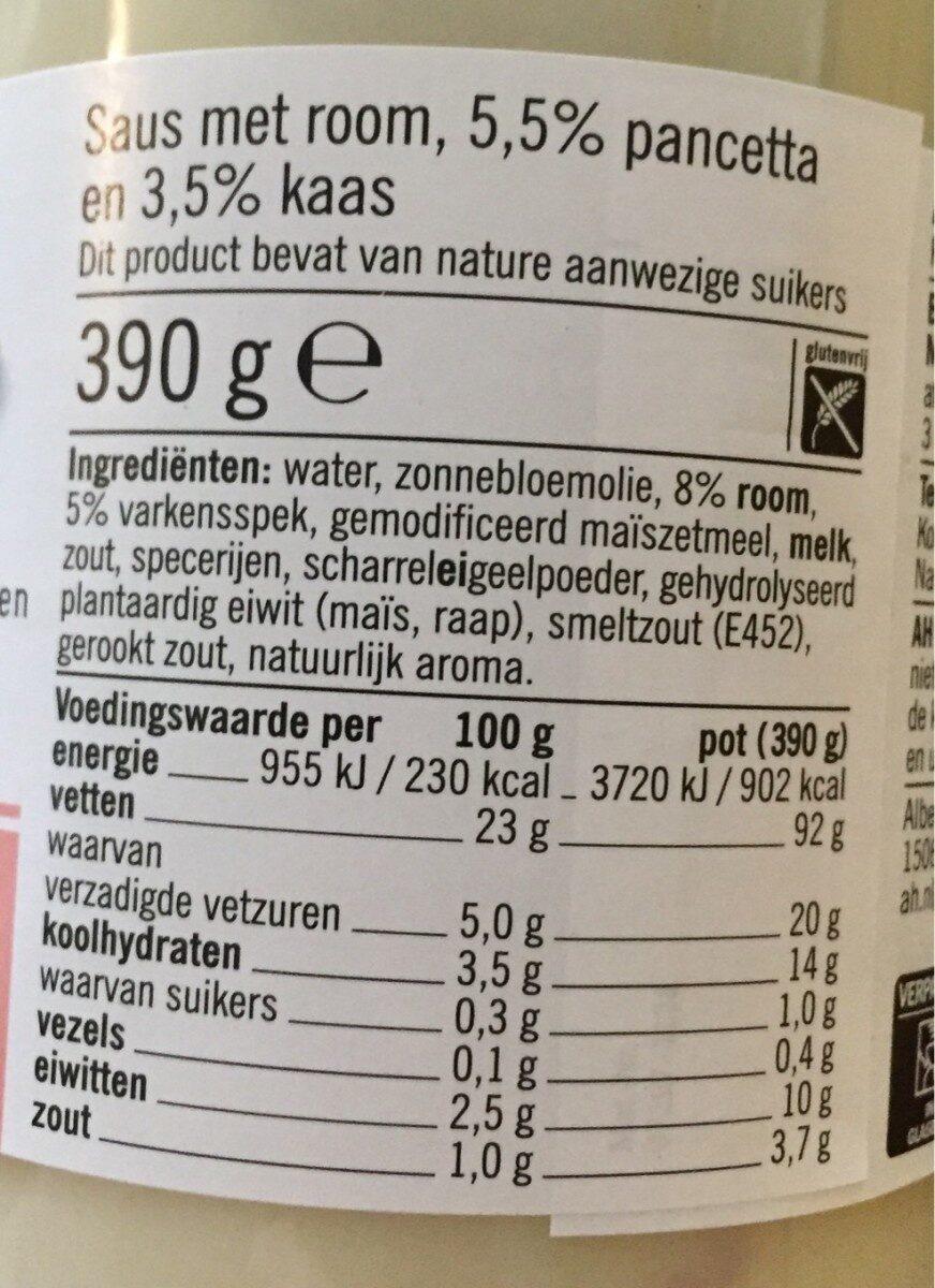 Pasta Saus - Nutrition facts - nl