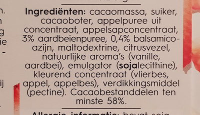 Delicata pure chocolade met aardbei en balsamico - Ingrediënten - nl