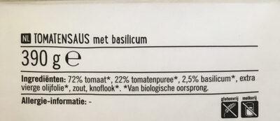 Biologische Pastasaus Basilicum - Ingrediënten