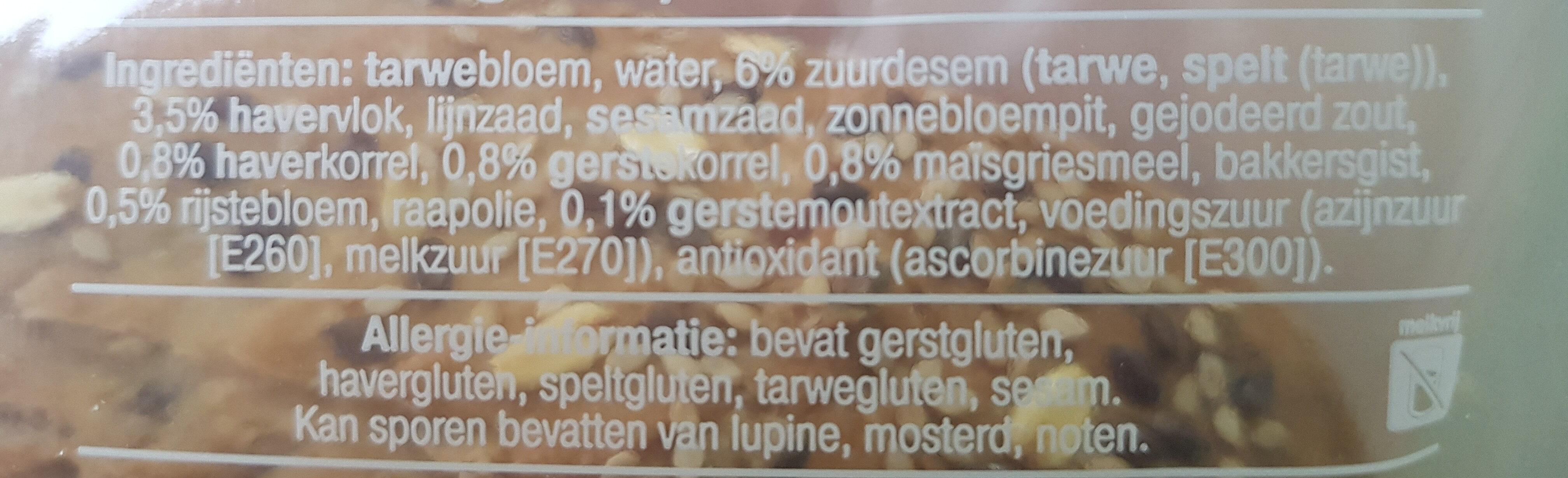 Robuust vloerbrood meergranen - Ingredients - nl