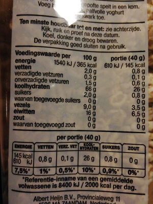 100% gepofte spelt - Informations nutritionnelles - nl