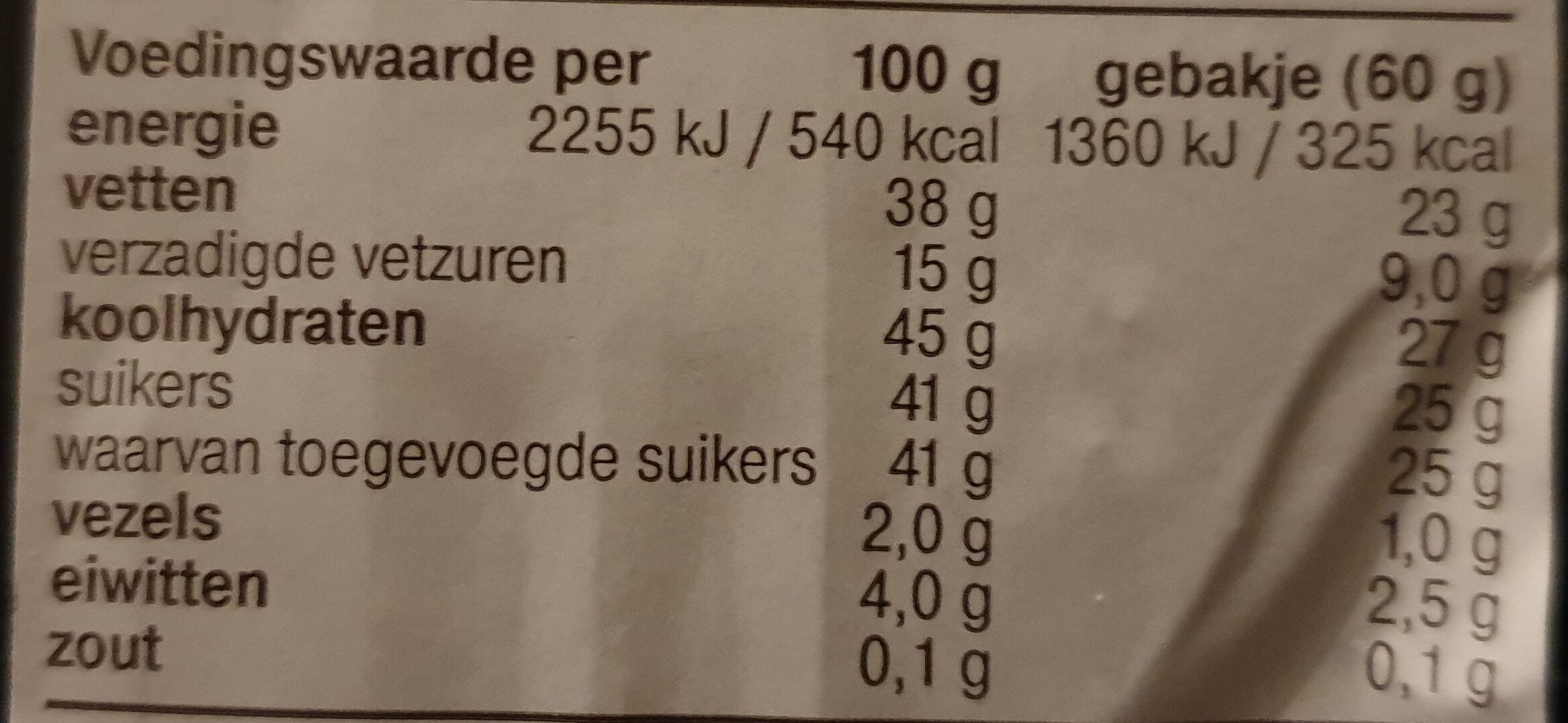 Mokkagebakjes - Voedingswaarden - nl