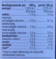 Rode linzen penne - Voedingswaarden - fr
