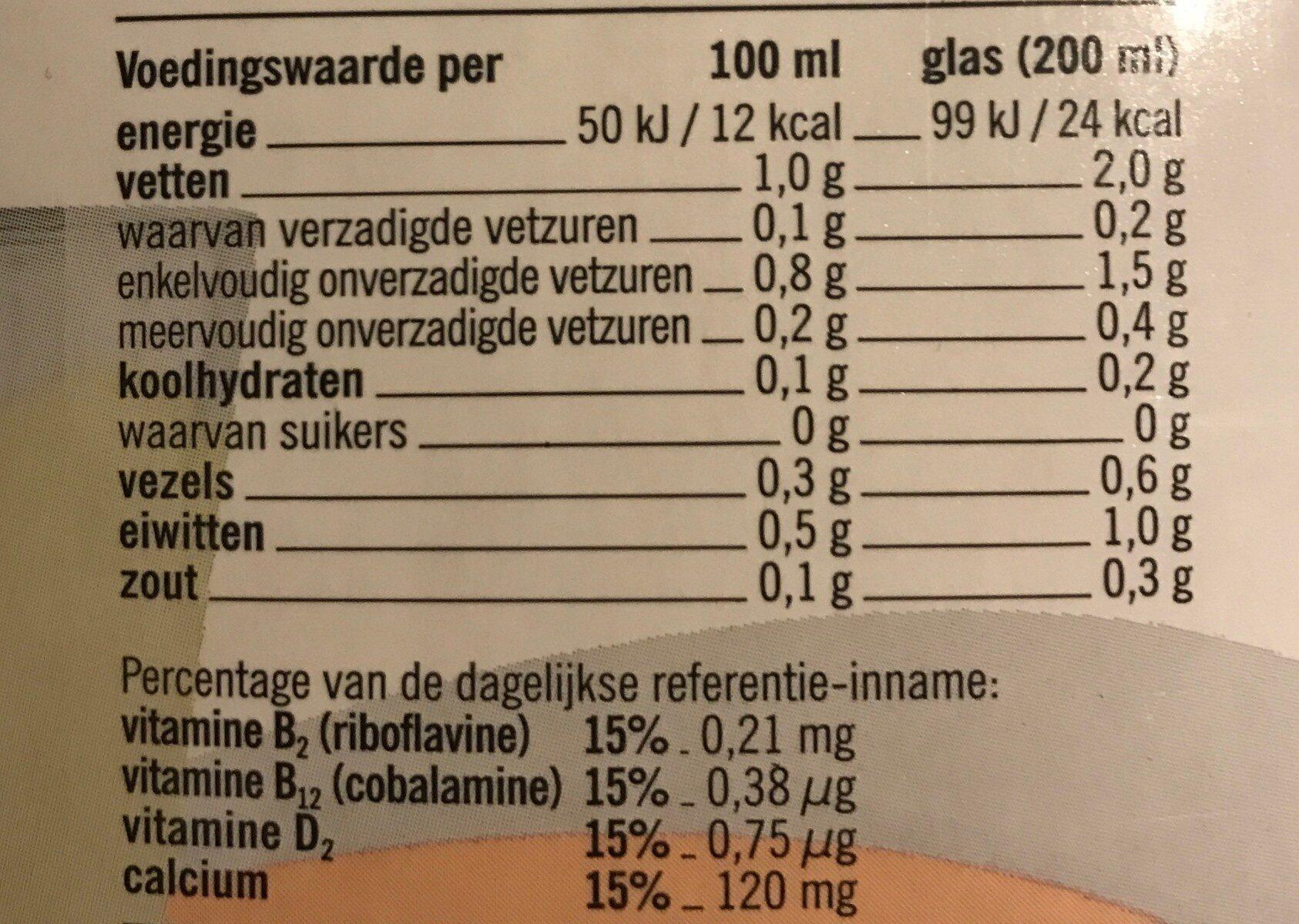 Amandel drink - ongezoet - Informations nutritionnelles - nl