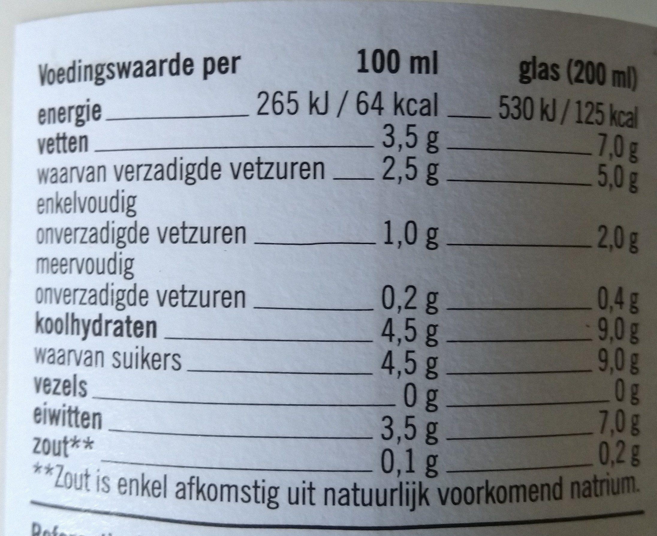 Boerderijzuivel Volle Melk - Voedingswaarden - nl