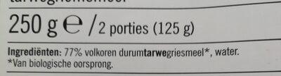 Biologische Linguine Integrali - Ingrediënten - nl