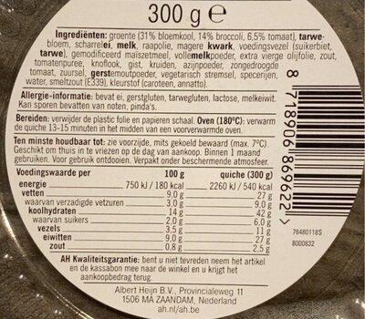 Quiche bloemkool broccoli - Nutrition facts - nl