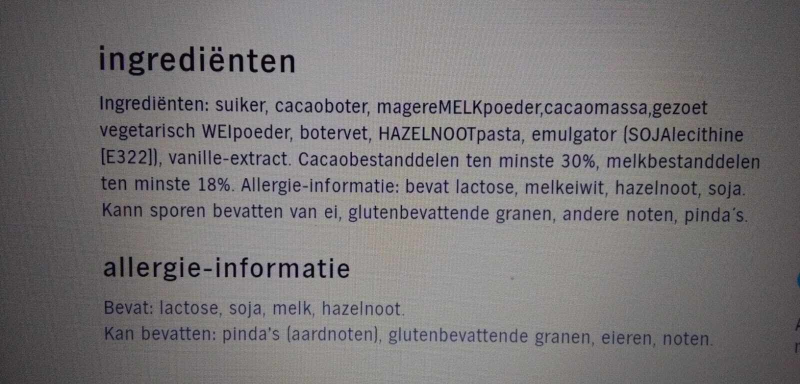 AH Tablet melk chocolade - Ingrédients - nl