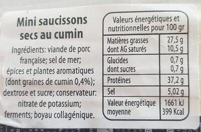 Mini crocq komijn - Nutrition facts