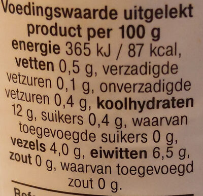 linzen - Nutrition facts - nl