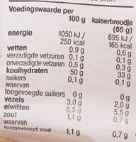 Kaiser Broodjes - Voedingswaarden - nl