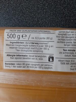 Albert Heijn Bio Spaghetto - Ingrediënten - nl