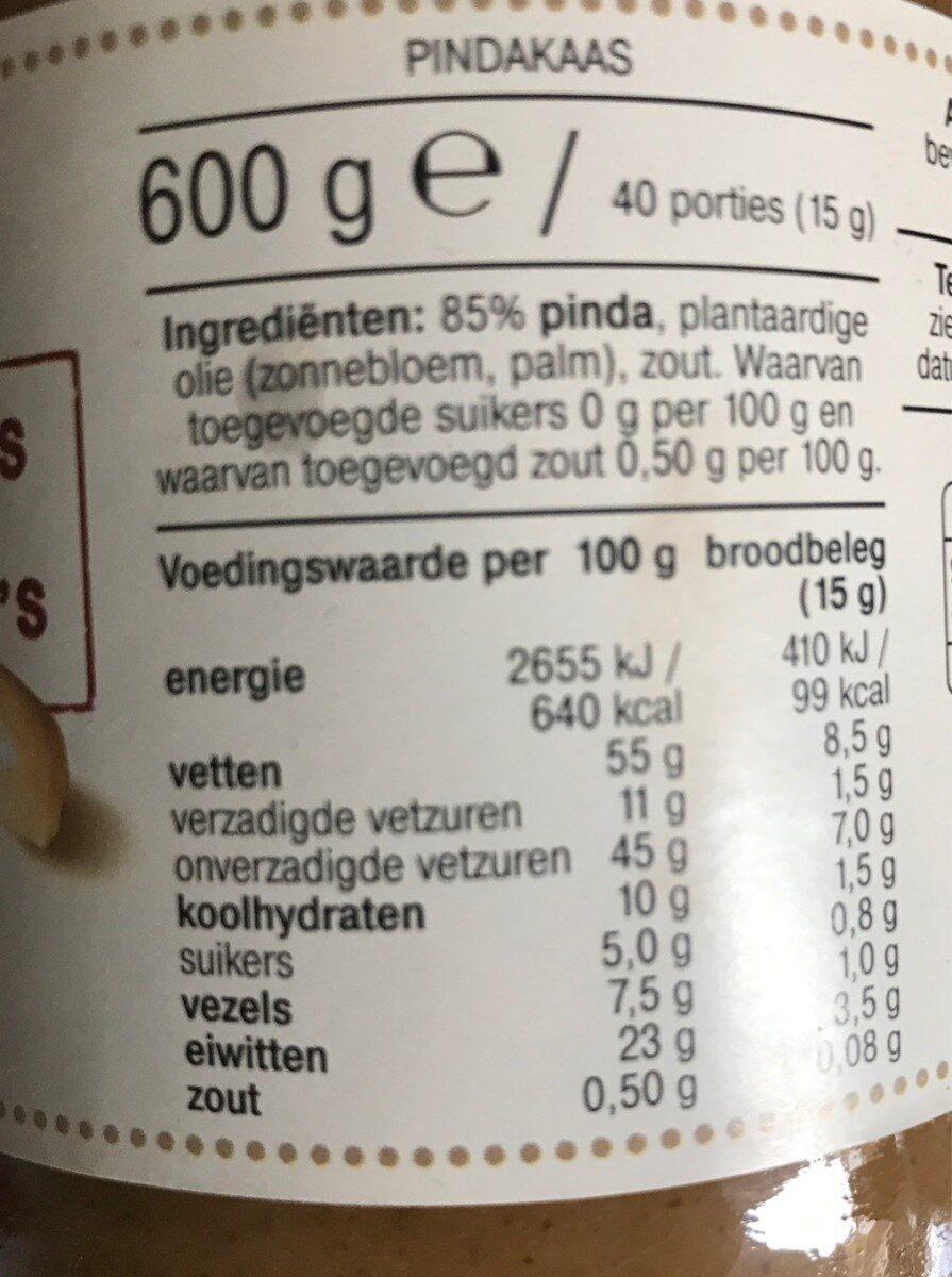 pindakaas - Nutrition facts - nl