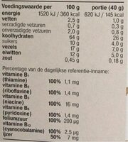 Bran Flakes Natural - Informations nutritionnelles - nl