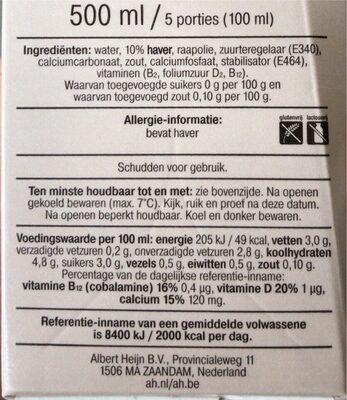 Barista haver - Voedingswaarden - nl