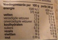 Havermout bio - Nutrition facts - fr